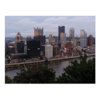 Aerial Pittsburgh Skyline at sunset Postcard
