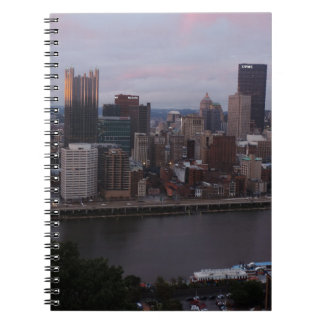 Aerial Pittsburgh Skyline at sunset Spiral Note Book