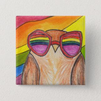 aerial rainbow owl button