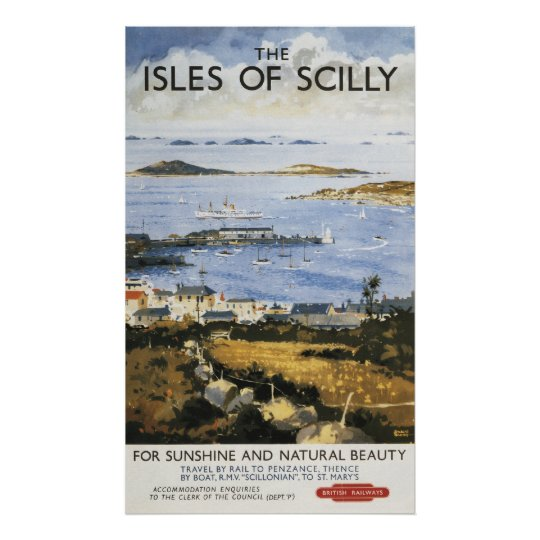 Aerial Scene of Town and Dock Railway Poster