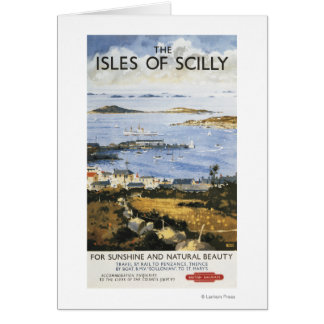 Aerial Scene of Town and Dock Railway Poster Card