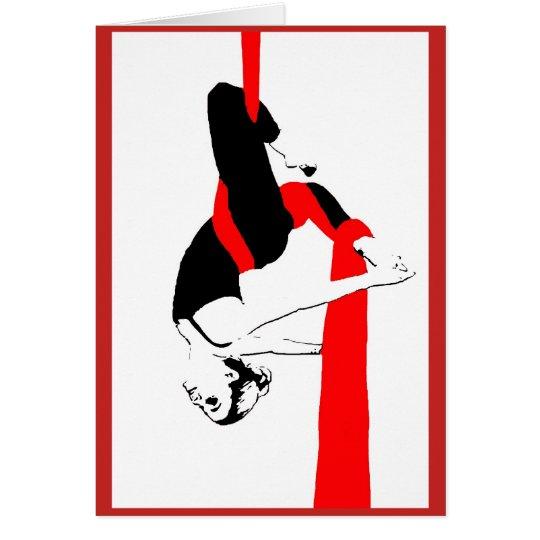 Aerial Silks Dancer  Note Card in Red