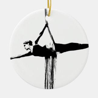 Aerial Silks Dancer Round Ceramic Decoration