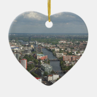 Aerial view Berlin with Spree River Germany Ceramic Heart Decoration
