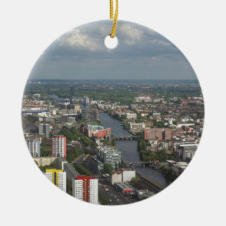 Aerial view Berlin with Spree River Germany Round Ceramic Decoration