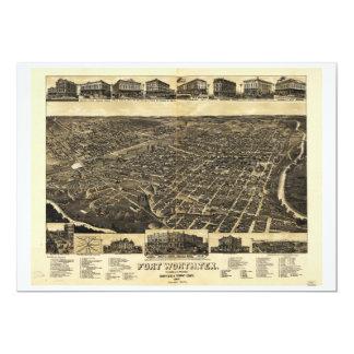 Aerial View Fort Worth Tarrant County Texas (1886) 13 Cm X 18 Cm Invitation Card
