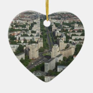 Aerial view Karl Marx Allee Berlin Germany Ceramic Heart Decoration
