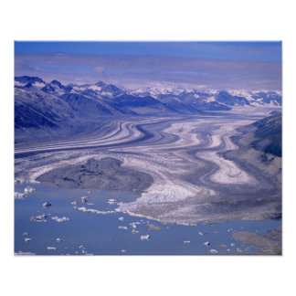 Aerial view Lowell Glacier Kluane National Posters