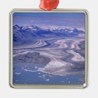 Aerial view Lowell Glacier, Kluane National Silver-Colored Square Decoration