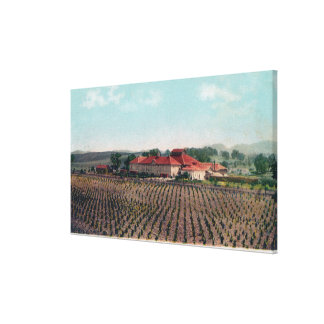 Aerial View of a California Vineyard and Winery Canvas Print