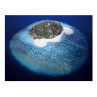 Aerial View of a Tropical Island, Maldives Postcard