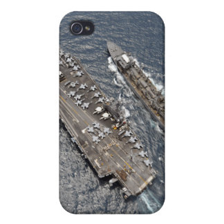 Aerial view of aircraft carrier USS Ronald Reag Cover For iPhone 4