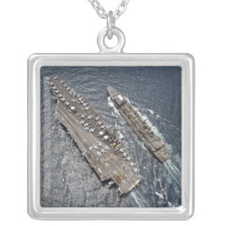 Aerial view of aircraft carrier USS Ronald Reag Silver Plated Necklace