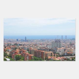 Aerial view of Barcelona, Spain Rectangular Sticker