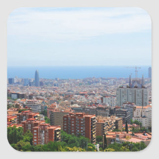 Aerial view of Barcelona, Spain Square Sticker