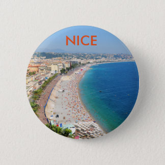 Aerial view of beach in Nice, France 6 Cm Round Badge