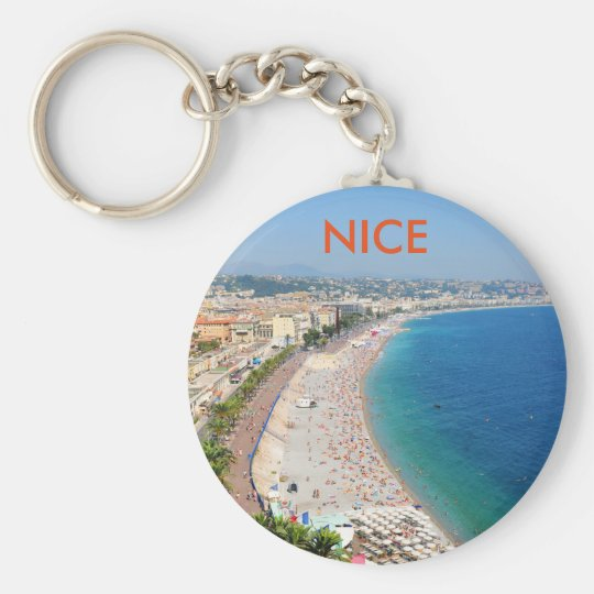 Aerial view of beach in Nice, France Basic Round Button Key Ring
