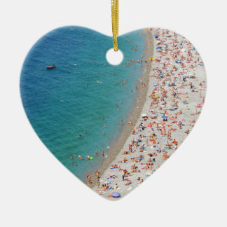 Aerial view of beach in Nice, France Ceramic Heart Decoration