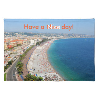 Aerial view of beach in Nice, France Placemat