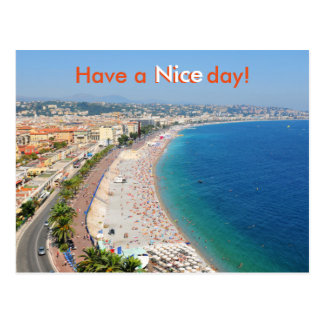 Aerial view of beach in Nice, France Postcard