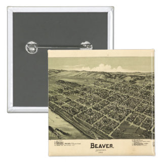 Aerial View of Beaver Pennsylvania (1900) 15 Cm Square Badge