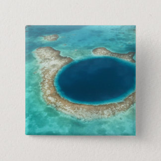 Aerial view of Blue Hole, sailboat anchored 15 Cm Square Badge