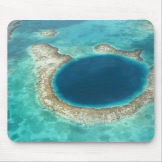 Aerial view of Blue Hole, sailboat anchored Mouse Mat