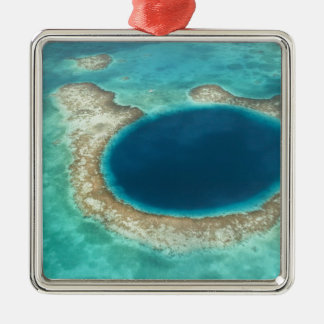 Aerial view of Blue Hole, sailboat anchored Silver-Colored Square Decoration