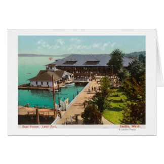 Aerial View of Boat House, Lake, Leshi Park Card