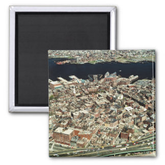 Aerial view of Boston, MA Square Magnet