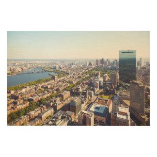 Aerial view of Boston Wood Wall Art