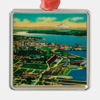 Aerial view of Bremerton and Bremerton Navy Yard Silver-Colored Square Decoration