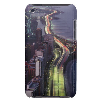 Aerial view of buildings along a highway in a barely there iPod cover