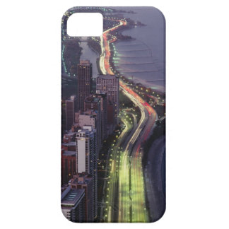 Aerial view of buildings along a highway in a case for the iPhone 5