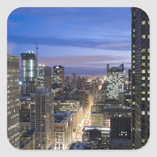Aerial view of buildings along State Street in Square Sticker