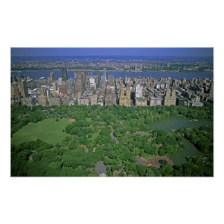 Aerial view of Central Park and the west side Poster