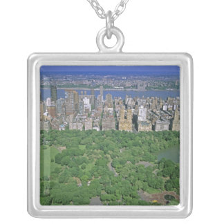 Aerial view of Central Park and the west side Silver Plated Necklace