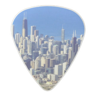 Aerial view of Chicago Downtown with Lake Acetal Guitar Pick