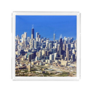 Aerial view of Chicago Downtown with Lake Acrylic Tray