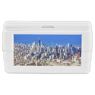 Aerial view of Chicago Downtown with Lake Chest Cooler