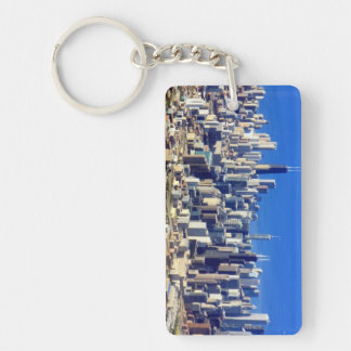 Aerial view of Chicago Downtown with Lake Double-Sided Rectangular Acrylic Key Ring