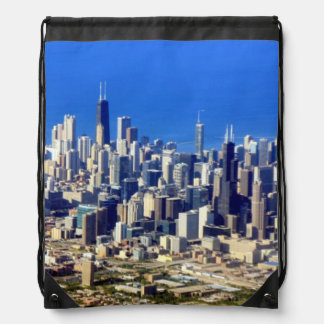 Aerial view of Chicago Downtown with Lake Drawstring Bag