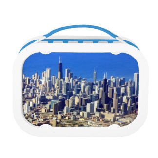 Aerial view of Chicago Downtown with Lake Lunch Box