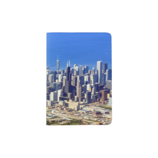 Aerial view of Chicago Downtown with Lake Passport Holder