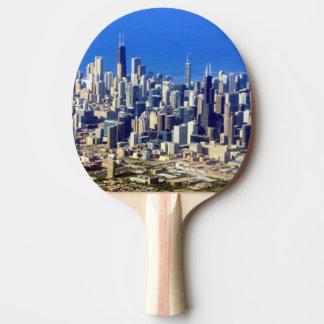 Aerial view of Chicago Downtown with Lake Ping Pong Paddle