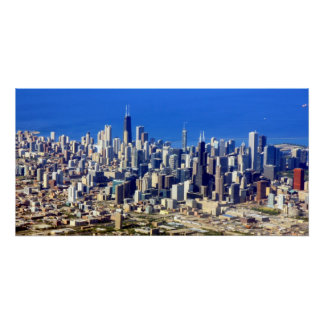 Aerial view of Chicago Downtown with Lake Poster