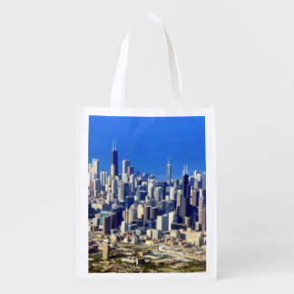 Aerial view of Chicago Downtown with Lake Reusable Grocery Bag