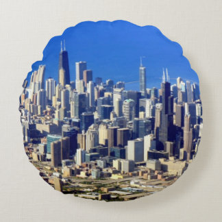 Aerial view of Chicago Downtown with Lake Round Cushion