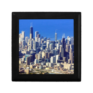 Aerial view of Chicago Downtown with Lake Small Square Gift Box