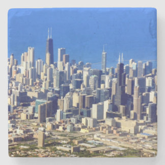 Aerial view of Chicago Downtown with Lake Stone Coaster